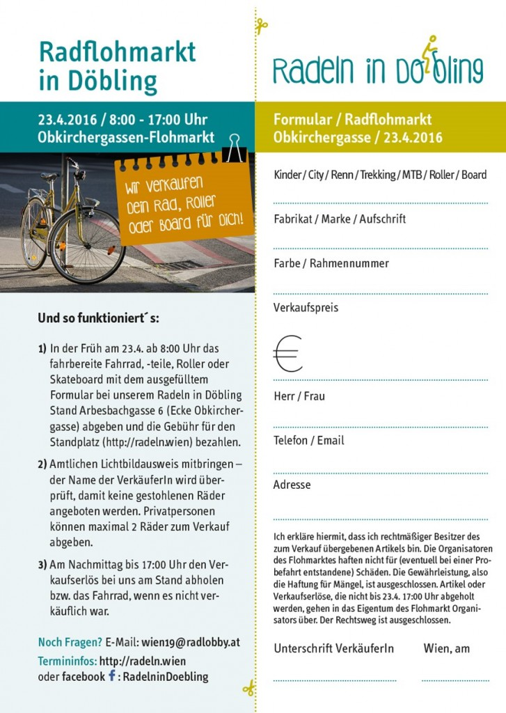 Fahrrad-Flohmarkt Obkirchergasse Formular