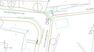 Skizze Lösungsvariante 2: RgE Ost nach West Kreuzungsübersicht Anrampung über die Pflasterung hinweg und durchgängig markiertes RgE