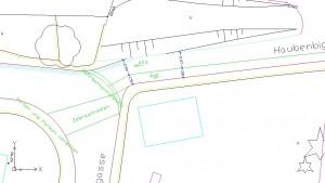Skizze Lösungsvariante 1: RgE West nach Ost – optimalste Sichtverhältnisse für KfZ, Rad, Fußgeher Umgedrehte Einbahn in Haubenbigl 5 und Wallmoden 4-14 ermöglicht allen weiterhin gute Zufahrt.