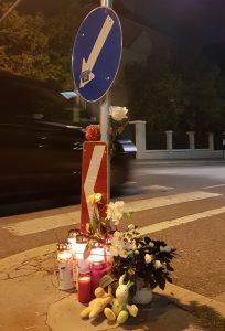 Gedenken an die getötete Fußgeherin in der Grinzinger Allee